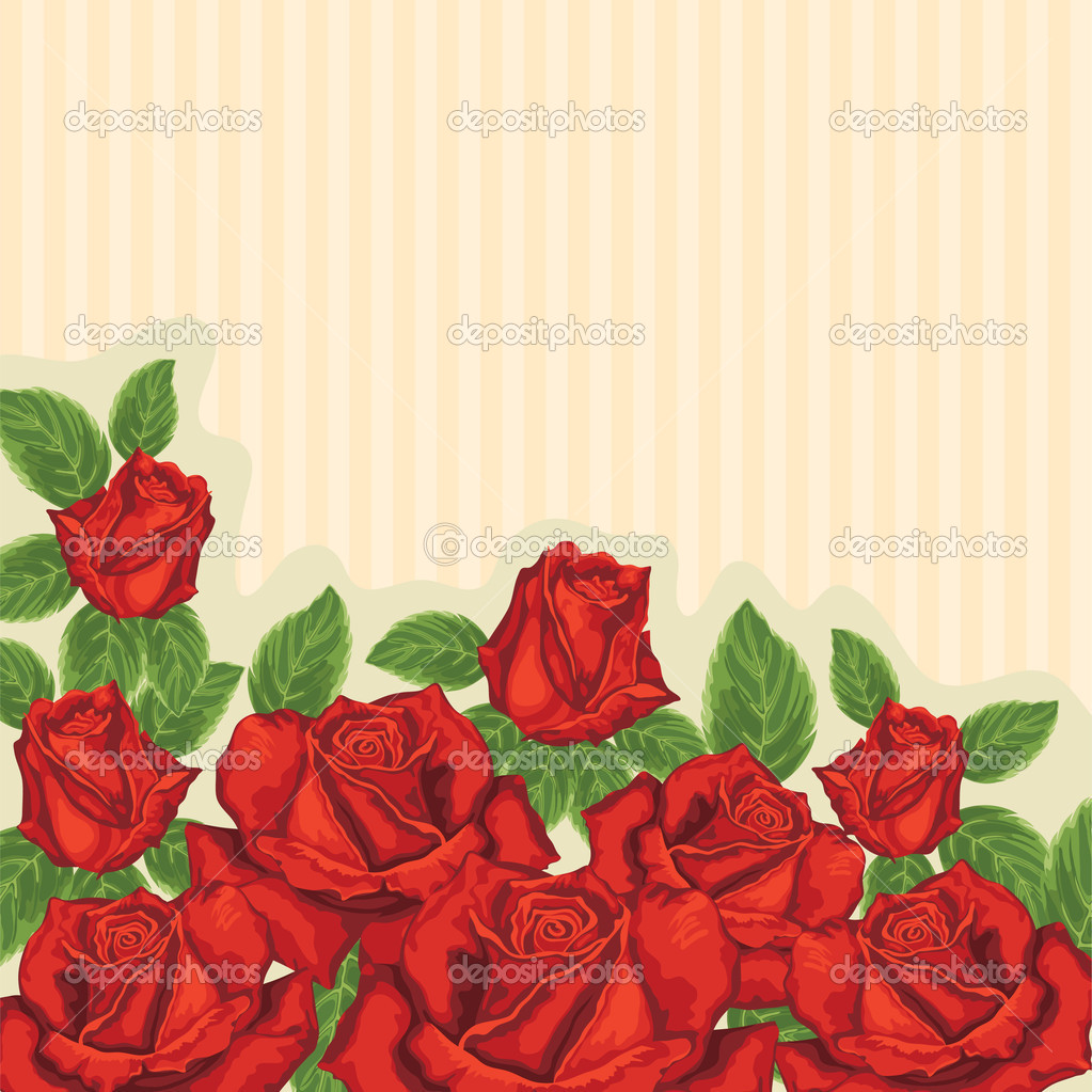 Card with red roses — Stock Vector #4877763