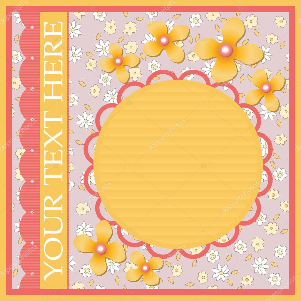 Frame with yellow flowers, perls and lace — Stock Vector #4877820