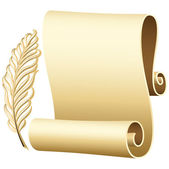 Scroll with gold feather. — Stock Vector