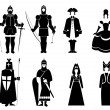 In period costumes — Vector de stock #4967220