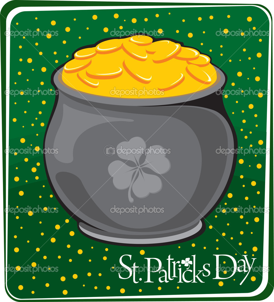 Magic pot with gold coins. St. Patrick's day  Stock Vector #4950669