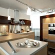 Modern luxury kitchen and dining room interior - Stock fotografie