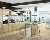 Modern luxury kitchen and dining room interior — Stock Photo