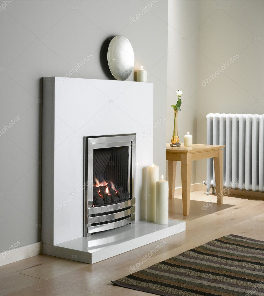 Fireplace, home, interior, beautiful, fire, fire, chimney, construction, heating — Stock Photo #5165508