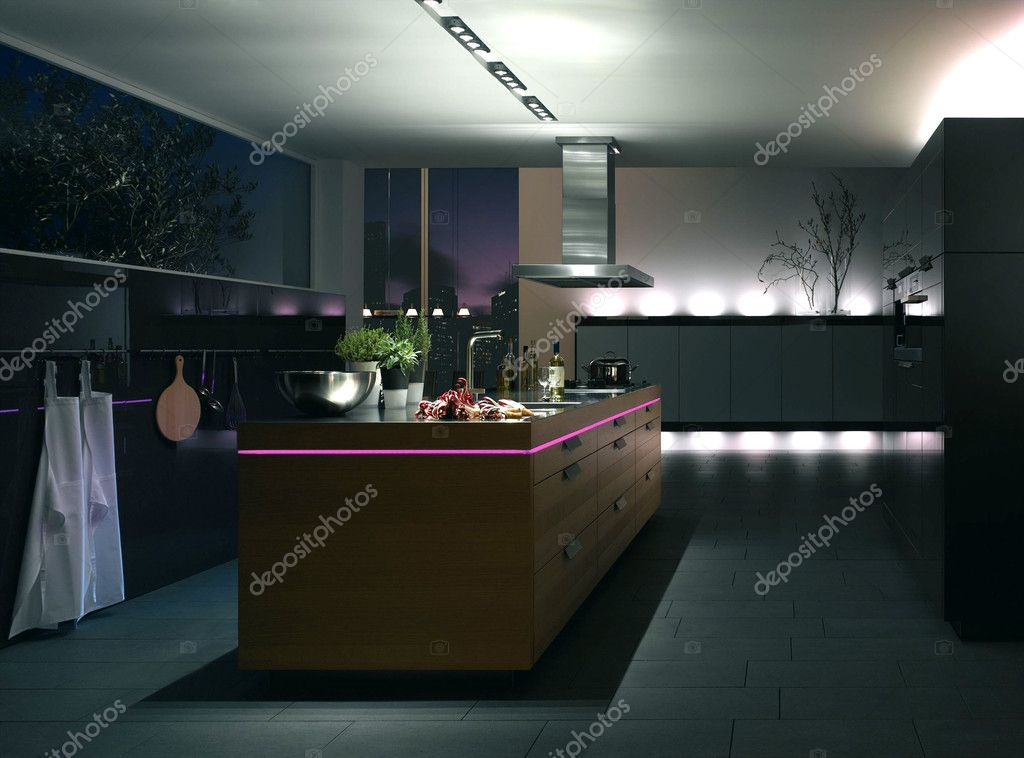 Modern luxury kitchen and dining room interior — Stock Photo #5166591