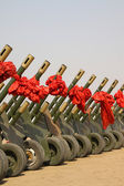 Rows of gun salute — Stock Photo