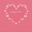 rosa alla hjärtans dag-kort med hjärta — Stockvektor
