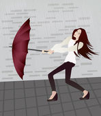 Girl with an umbrella — Stock Vector