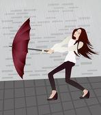Girl with an umbrella — Stock Vector