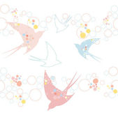 Cute seamless swallow pattern — Stock Vector