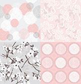 Conjunto de motivos florales inconsútiles. — Vector de stock