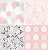 Set of seamless floral patterns — Stok Vektör
