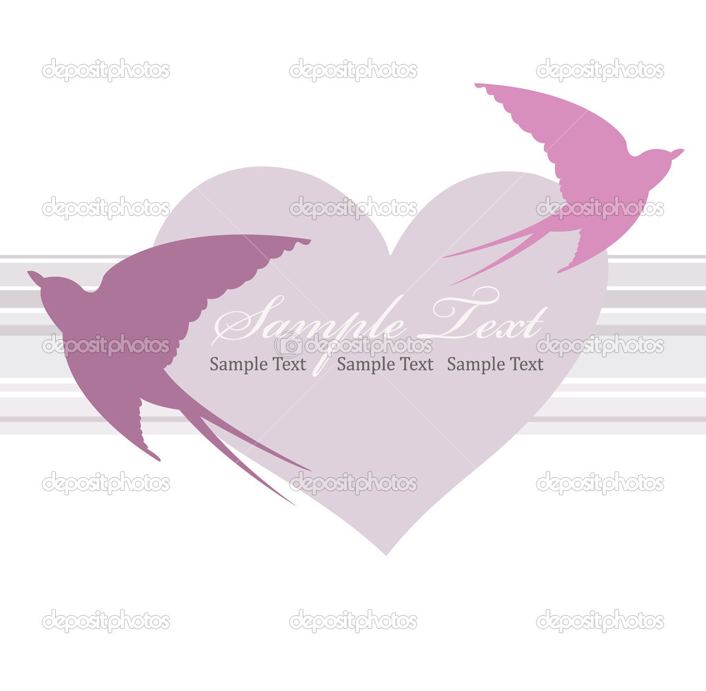 Valentines day card with heart and swallow. — Imagen vectorial #5151588