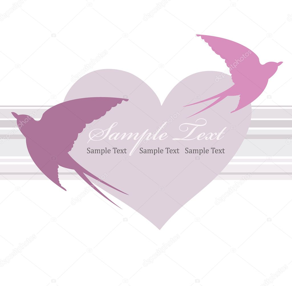 Valentines day card with heart and swallow. — Stockvectorbeeld #5151588