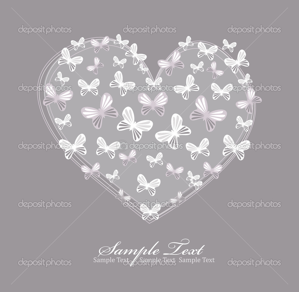 Valentines day card with heart and butterfly.  Stock Vector #5151602