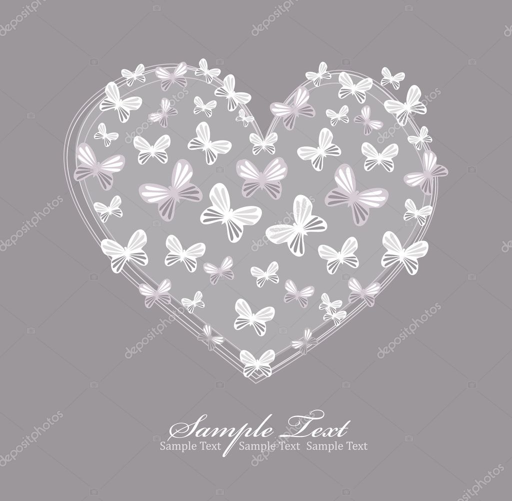 Valentines day card with heart and butterfly. — Stok Vektör #5151602