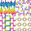 Vector set of abstract colorful tile backgrounds — Imagens vectoriais em stock