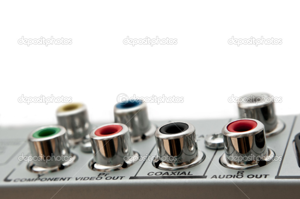 Close up capturing audio visual sockets on the rear of an electrical device. White background. — Stock Photo #4940773
