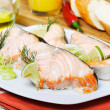 Roast salmon served — Stock Photo