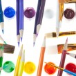 Artist's Tools - Colored pencils, paints and brushes — Stock Photo