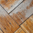 Faded, Scuffed, Cracked, Wood Flooring — Stock Photo