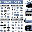 Stock Vector: 100 travel signs