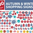 100 autumn shopping stickers - Stock Vector