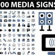 100 media signs - Stock Vector