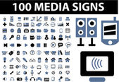100 media signs — Stock Vector