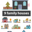 8 family houses - Stock Photo