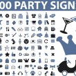 100 party signs - Stock Vector