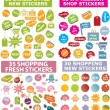 100 colorful shopping stickers — Stock Vector