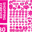 80 pink shopping stickers - Stock Vector