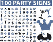 100 party signs — Stock Vector
