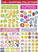 100 kolorowe naklejki zakupy — Wektor stockowy