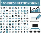 100 presentation signs — Stock Vector