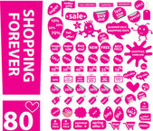 80 pink shopping stickers — Stock Vector