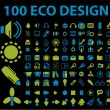 Stock Vector: 100 eco design signs