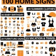 100 home signs — Stock Vector