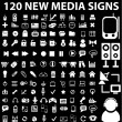 120 new media signs - Stock Vector