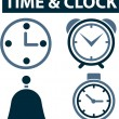 Stock Vector: Time & clock signs