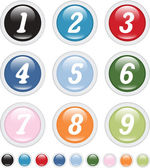 Number buttons — Stock Vector