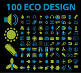 100 eco design signs — Stock Vector