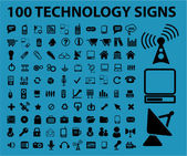 100 technology signs — Stock Vector