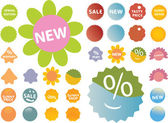 20 cute pink-green stickers — Stock Vector