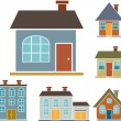 Stock Vector: 4 family houses