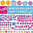 100 winter holidays shop symbols — Stock Vector