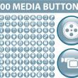 100 media blue buttons — Stock Vector