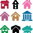 Colorful simple houses - Stock Vector