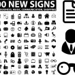 100 new office, business, media signs - Stock Vector